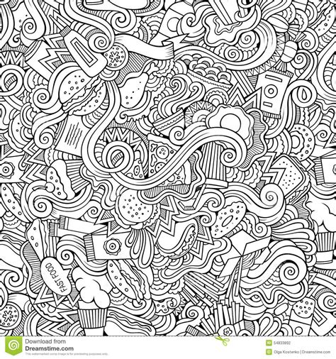 fast doodle seamless doodles abstract fast food pattern stock vector