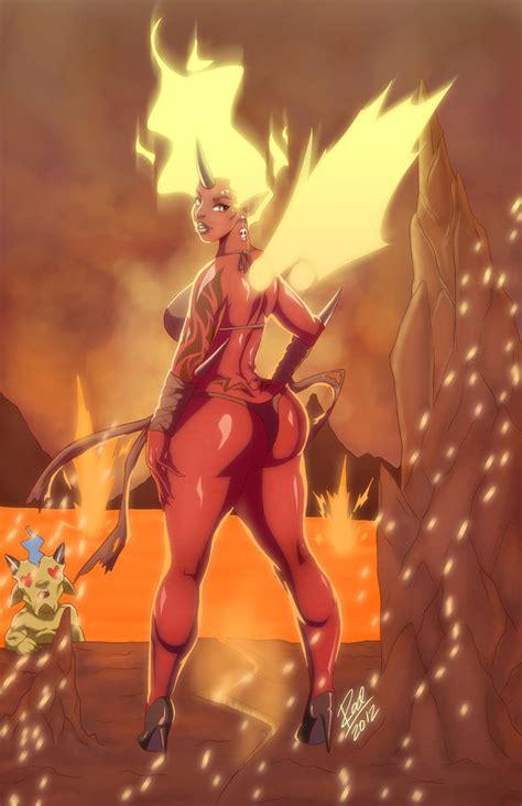 fire demoness by zelmarr on deviantart