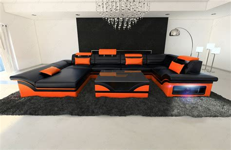 big orange couch big leather sofa enzo with led lights black orange ebay