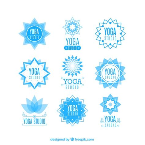 yoga imagenes logos light blue yoga center floral logos vector free download