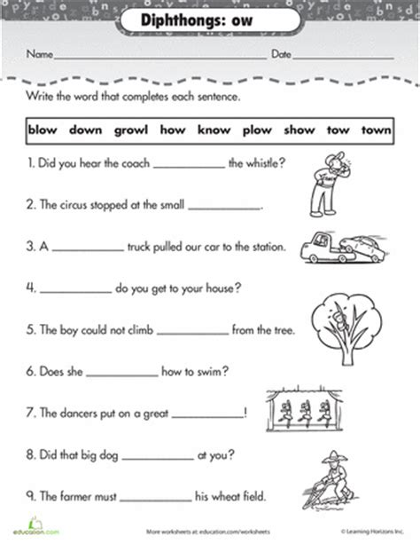 Ow Worksheets by Worksheets Practice Reading Vowel Diphthongs Ow
