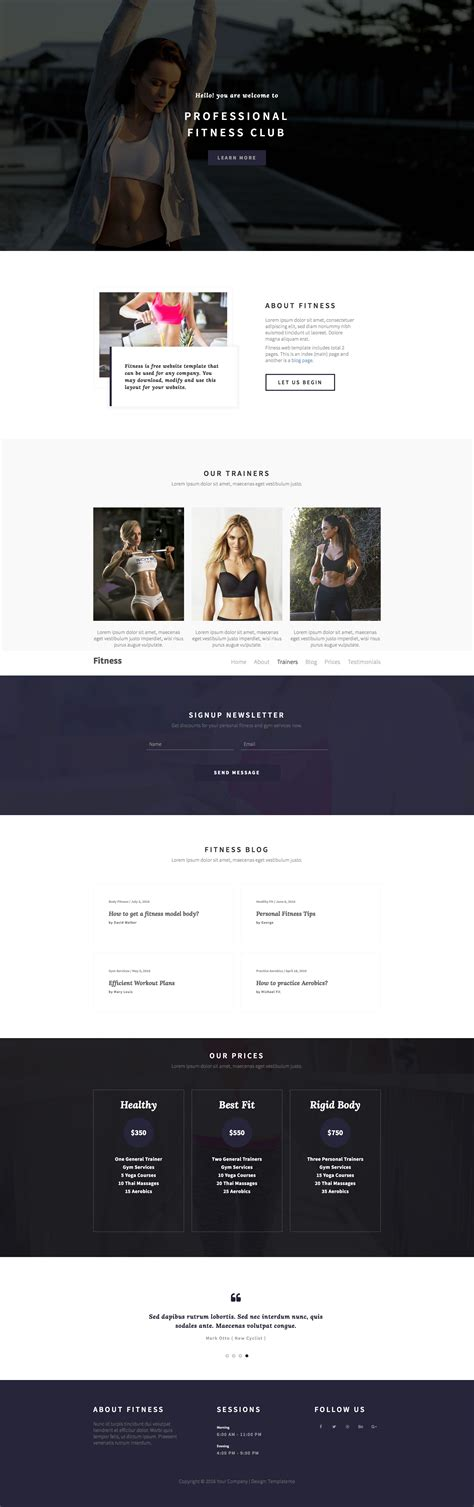 bootstrap templates for gym fitness free responsive html5 bootstrap one page template