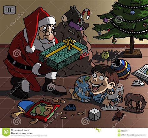 santa bringing gift royalty free stock photography image