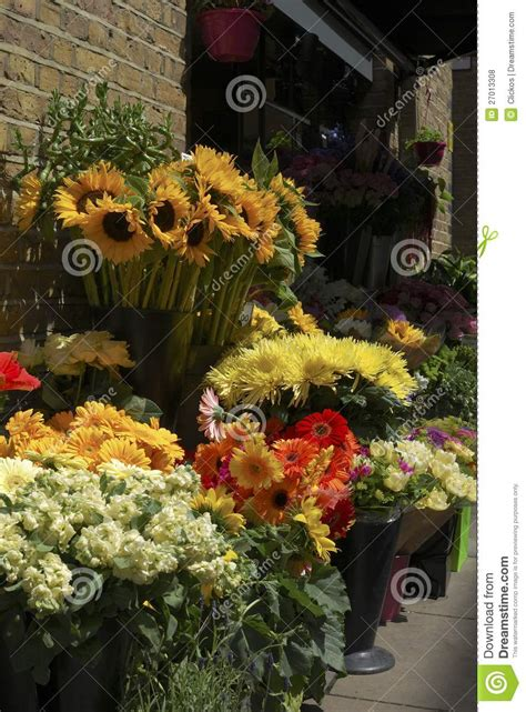 flower display outside florist shop royalty free stock