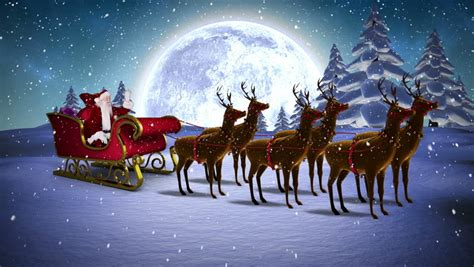 animated photos of christmas santa claus with reindeer digital animation of santa waving in his sleigh with reindeer and greeting stock footage
