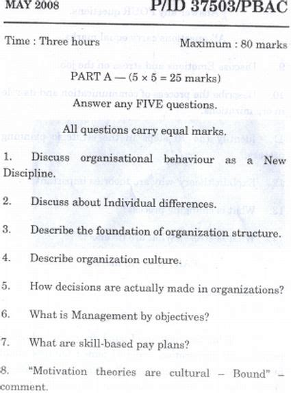 Mba Question Papers Madras Pdf by Of Madras Politics Organisational Behavoiur Mba