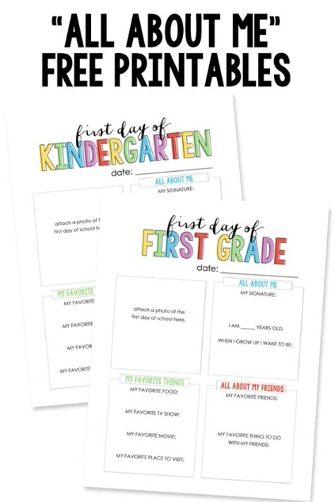 All About by Free Back To School Printables