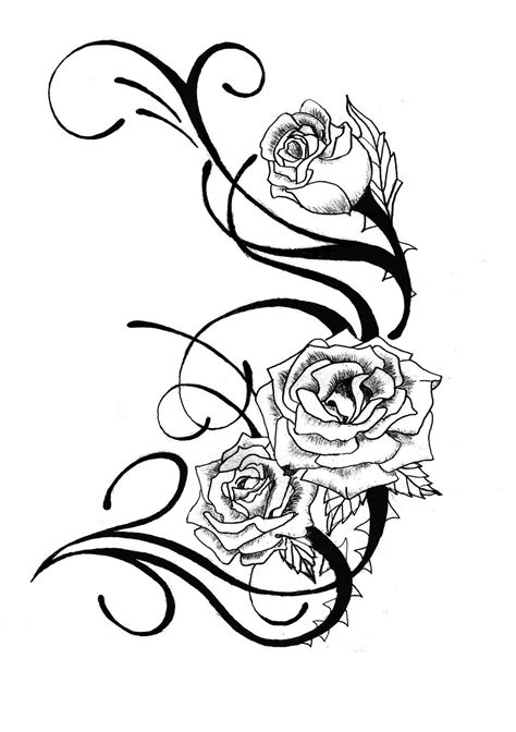 rose stencil tattoo stencils clipart best