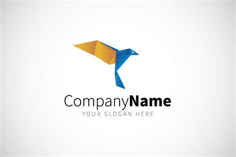 Origami Bird Logo - blue origami bird logo