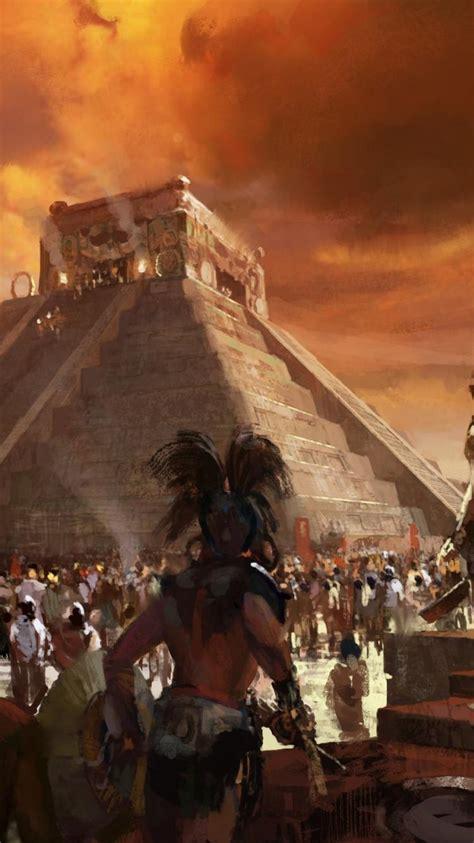 maya artwork aztec pyramids sacrifice wallpaper