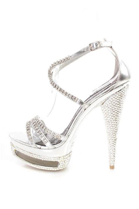silver rhinestone high heels silver rhinestone strappy platform 6 inch high heels faux