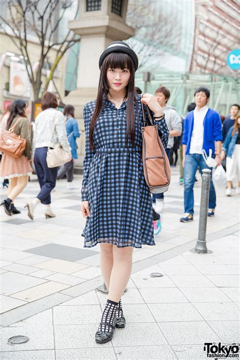Baju Dress Axes Femme Japan harajuku in gingham dress axes femme bag bow shoes