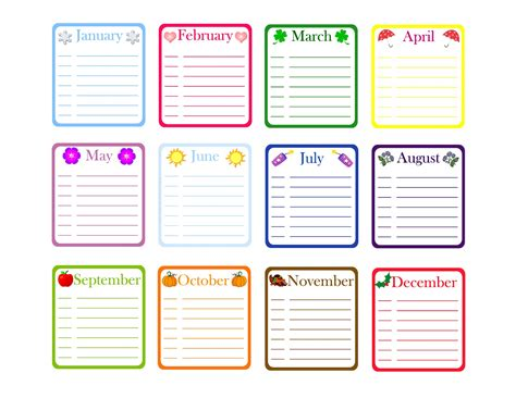 monthly birthday calendar template 12 month birthday calendar template calendar template 2016