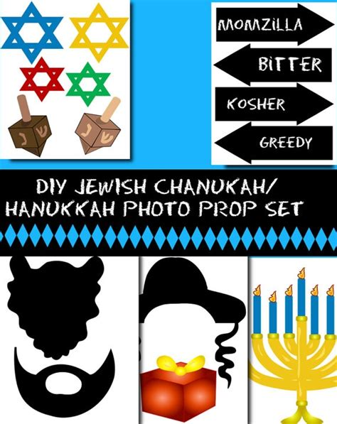 printable hanukkah photo booth props diy jewish chanukah hanukkah printable by