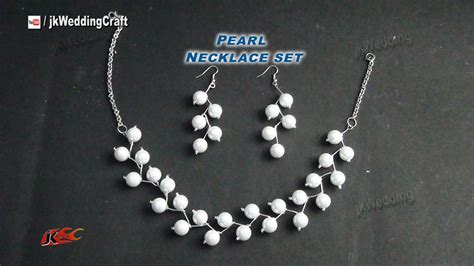 how to make cheap jewelry diy pearl necklace earring set gift idea easy