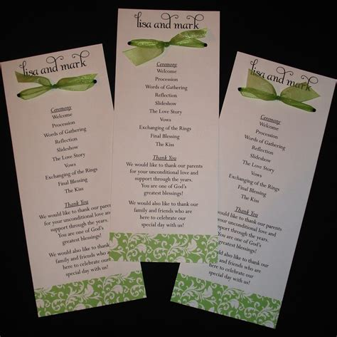 damask bow wedding programs your colors