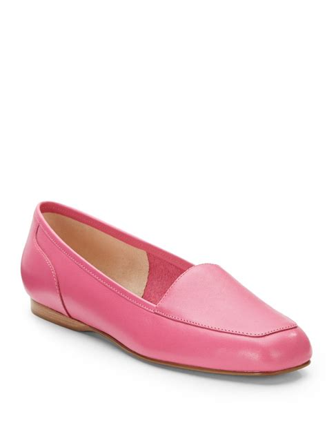 pink leather loafers enzo angiolini liberty leather loafers in pink for lyst