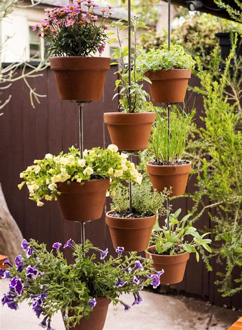 hanging herb garden vertical hanging plants stainless steel rods 3 quot plastic