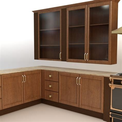 complete kitchen cabinets appliances 3d model max