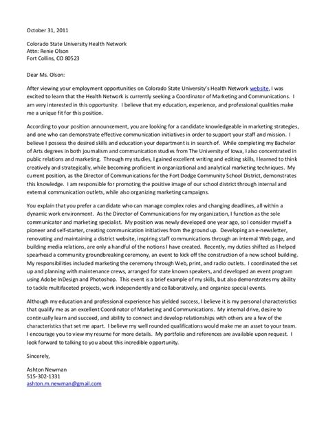 Advertising Coordinator Cover Letter by Sle Cover Letter For Marketing Coordinator 402