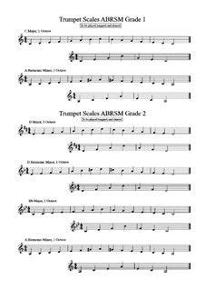 the complete 12 major scales for trumpet chart