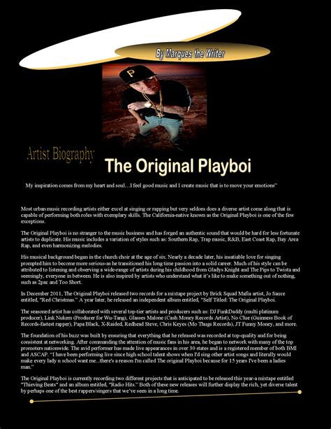 artist biography com the original playboi r b hip hop singer