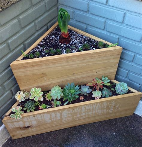 Corner Planters by Fill An Empty Corner With This Two Tiered Corner Planter