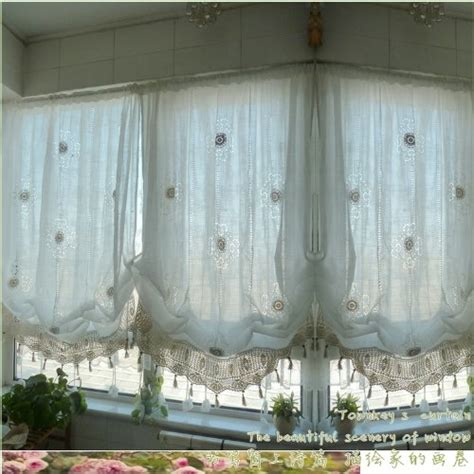 Shade Curtains For Living Room Hughapy 174 Pastoral Style Adjustable Balloon Curtain Manual