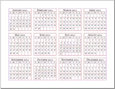 12 months calendar | printable yearly calendar