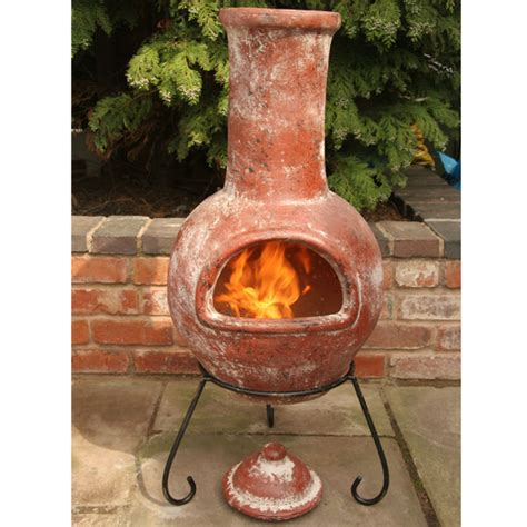 chiminea clay gardeco clay chiminea colima design large 110cm on sale