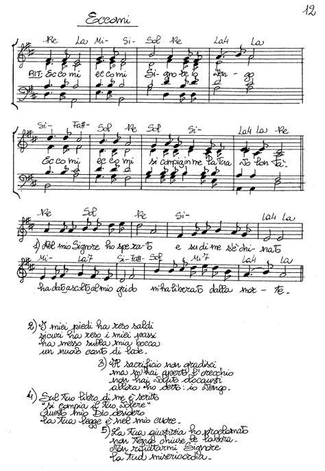 testo eccomi spartiti dei canti