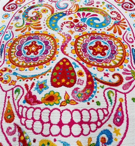 design teppiche teppich modern designer teppich bunt totenkopf skelett
