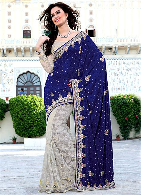 Red White And Blue Home Decor by Buy Royal Blue And Off White Velvet And Brasso Saree Online