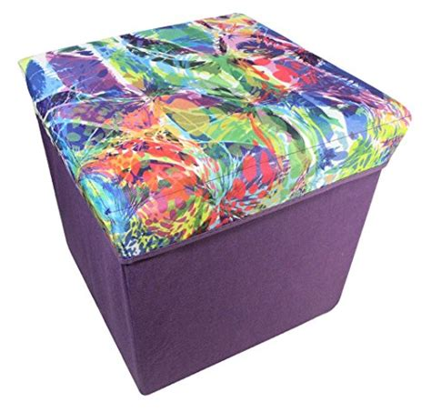 Colored Ottomans With Storage Folding Storage Ottoman Color Choices Splattered Paint Furniture Ottomans Ottomans