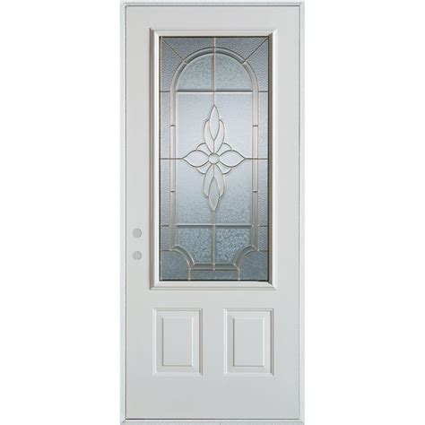 Stanley Exterior Door Stanley Doors 32 In X 80 In Traditional Patina 3 4 Lite 2 Panel Painted White Right