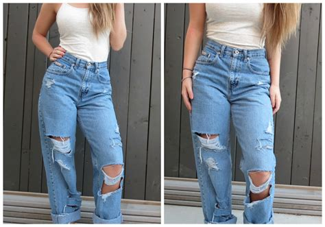 boyfriend allsize 90 s high waist distressed boyfriend all sizes