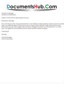 letter of thanks for opening bank account documentshub