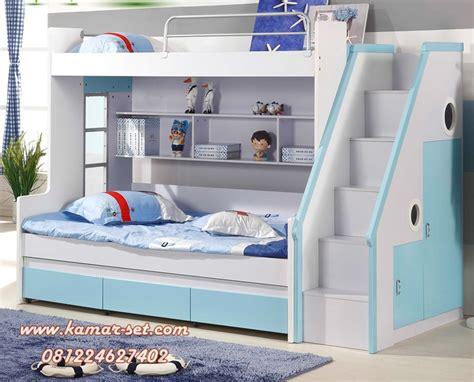 Tempat Tidur Anak Tingkat Ranjang 2 Susun Putih Kayu Mahoni tempat tidur bunk bed anak warna putih biru tosca kamar