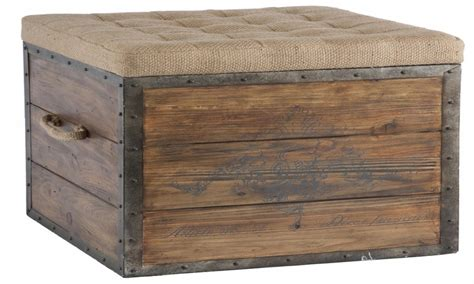 rustic ottoman large square ottomans french square storage crate rustic