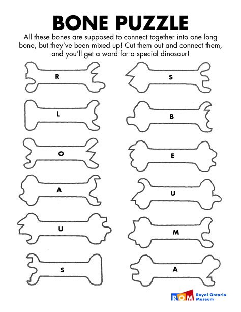 4 best images of printable dinosaur bones puzzle