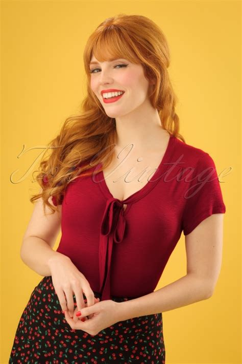 Goldie Top 60s goldie bow top in ruby