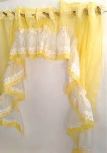 Yellow Ruffle Curtains Sheer Yellow Swag White Eyelet Ruffle Cafe Curtains