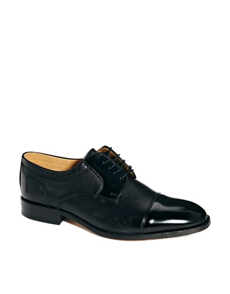 loake toe cap derby shoes in black for lyst