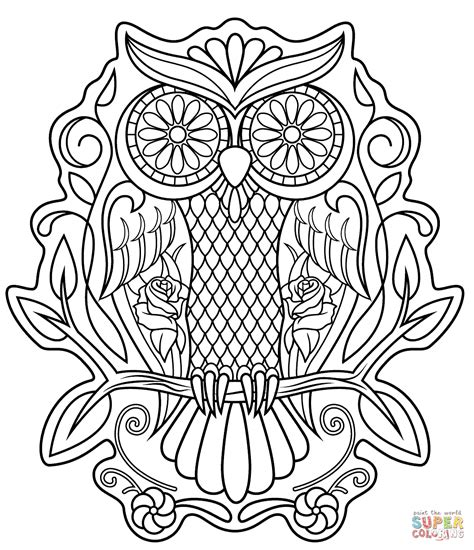 day of the dead owl coloring pages sugar skull owl coloring page free printable coloring pages