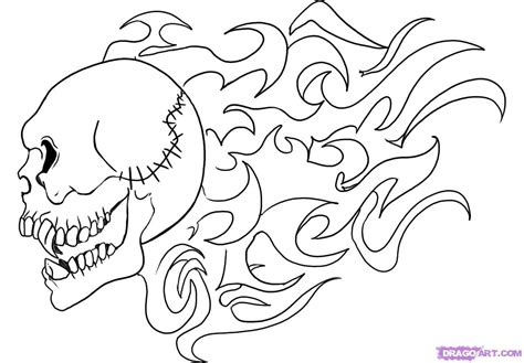 flaming skull colouring pages
