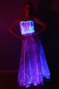 chagne color wedding fiber optic gown dress color changing lights with by