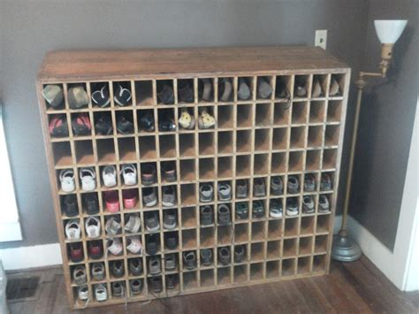 post office wooden mail sorter repurposed as shoe shelf all and my shoes fit but not my