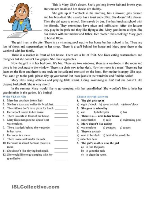 reading comprehension tests year 7 online reading comprehension esl worksheets of the day