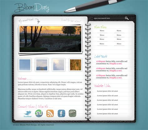 create template photoshop design a diary journal web layout in photoshop designbump