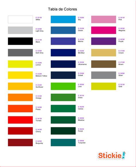 de colores stickie adhesivos decorativos de vinilo tabla de colores